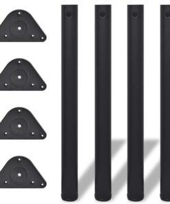 4 bordben, justerbar højde, sorte, 710 mm