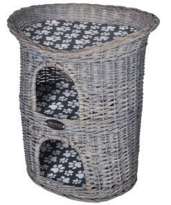 Kattehus/-seng af pil til kæledyr, 2 niveauer, med kradsetræ og hynde