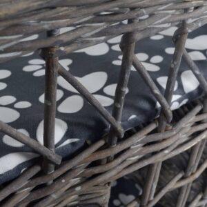 Kattehus/-seng af pil, til kæledyr, kvadratisk, med kradsetræ og hynde