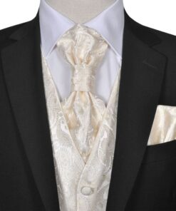 130829 Bryllupsvestsæt med paisleymotiv til herrer str. 50 Creme