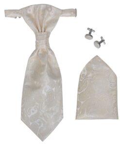 Herre Paisley Bryllupsvest sæt, størrelse 54, cremefarvet