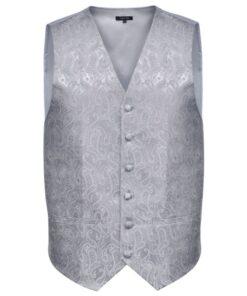 Herre Paisley Bryllupsvest sæt, størrelse 50, sølvfarvet