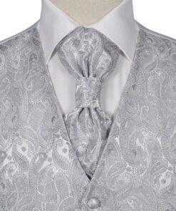 Herre Paisley Bryllupsvest sæt, størrelse 52, sølvfarvet