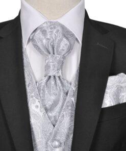 Herre Paisley Bryllupsvest sæt, størrelse 54, sølvfarvet