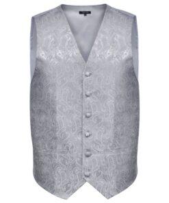 Herre Paisley Bryllupsvest sæt, størrelse 56, sølvfarvet