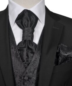 Herre Paisley Bryllupsvest sæt, størrelse 48, sort
