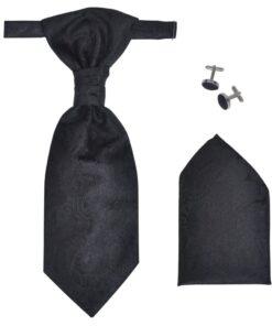 Herre Paisley Bryllupsvest sæt, størrelse 54, sort