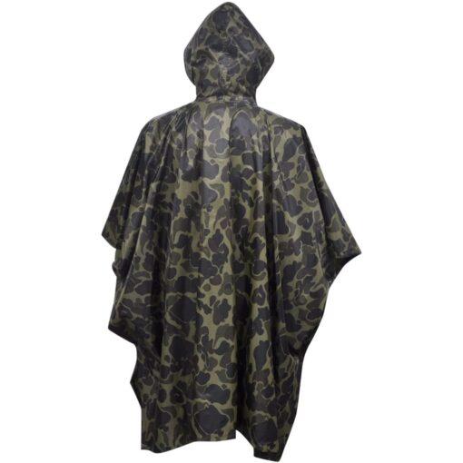 Vandtæt army-regnponcho til camping/vandreture camouflage