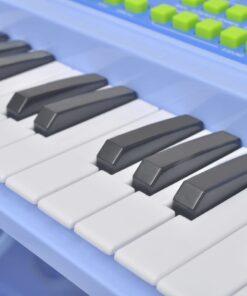 vidaXL legetøjskeyboard med skammel/mikrofon blå