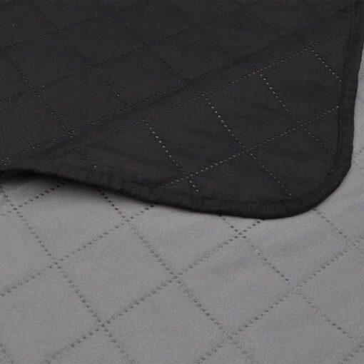 vidaXL dobbeltsidet quiltet sengetæppe sort og grå 230 x 260 cm