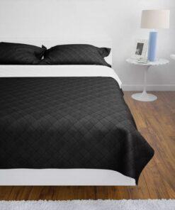Dobbeltsidet quiltet sengetæppe sort/hvid 230 x 260 cm