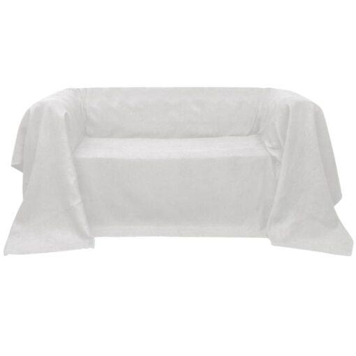 Sofaovertræk i micro-suede, cremefarvet, 140×210 cm
