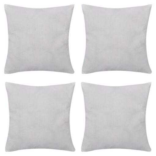 4 hvide pudebetræk i bomuld 80 x 80 cm