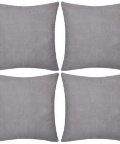 4 grå pudebetræk i bomuld 40 x 40 cm