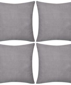 4 grå pudebetræk i bomuld 80 x 80 cm