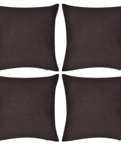 4 brune pudebetræk i bomuld 50 x 50 cm