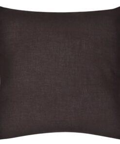 4 brune pudebetræk i bomuld 80 x 80 cm