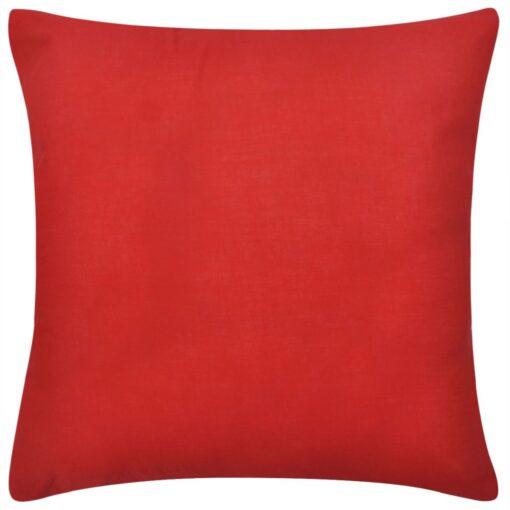 4 røde pudebetræk i bomuld 80 x 80 cm