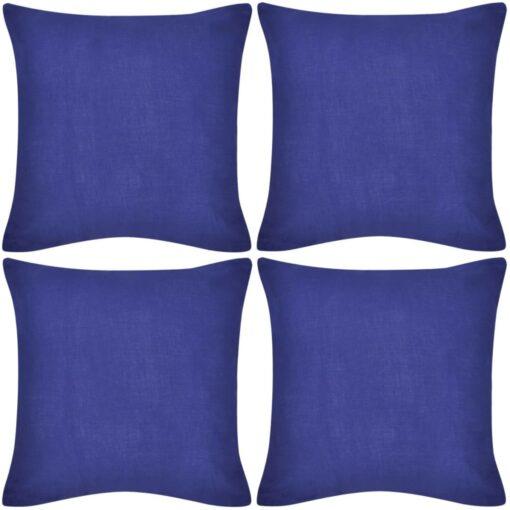 4 blå pudebetræk i bomuld 50 x 50 cm