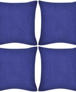 4 blå pudebetræk i bomuld 80 x 80 cm