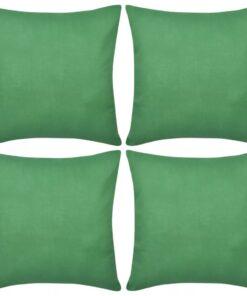 4 grønne pudebetræk i bomuld 50 x 50 cm