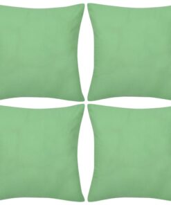 4 æblegrønne pudebetræk i bomuld 40 x 40 cm