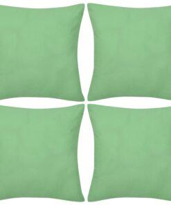 4 Æblegrønne pudebetræk bomuld 50 x 50 cm