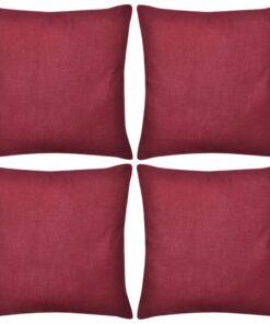 4 Bordeaux pudebetræk i bomuld 50 x 50 cm
