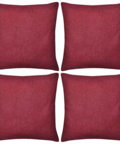 4 Bordeaux pudebetræk i bomuld 80 x 80 cm