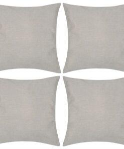 4 Beige pudebetræk linen-look 40 x 40 cm
