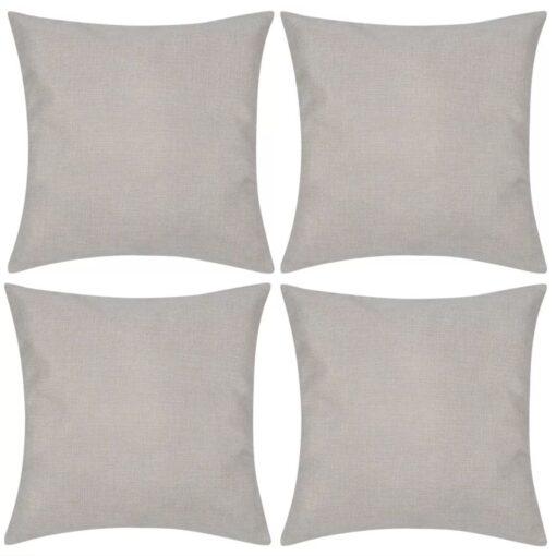 4 Beige pudebetræk linen-look 80 x 80 cm
