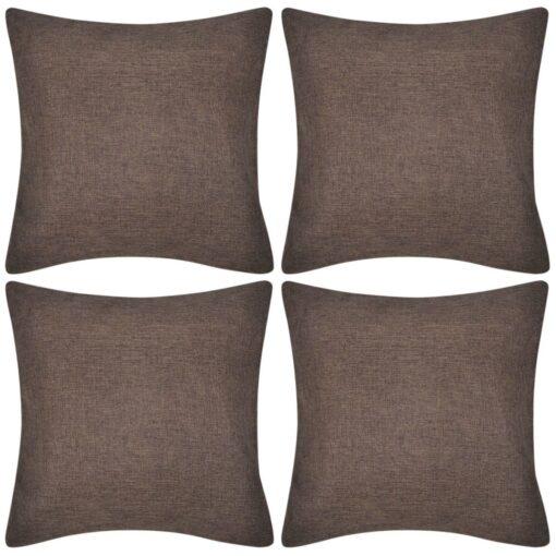 4 Brune pudebetræk linen-look 40 x 40 cm