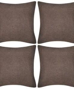 4 Brune pudebetræk linen-look 50 x 50 cm