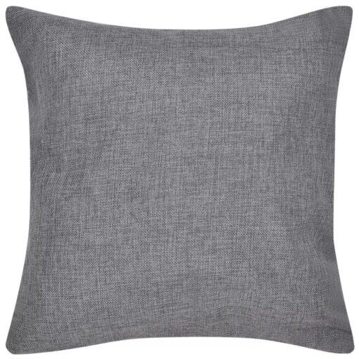 4 antracitgrå pudebetræk, linned-look 40 x 40 cm