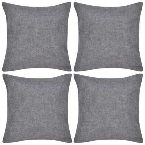 vidaXL 4 antracitgrå pudebetræk, linned-look 50 x 50 cm