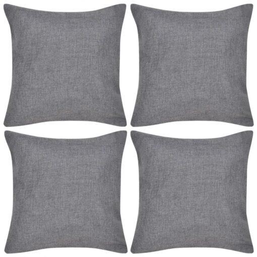 vidaXL pudebetræk linned-look 4 stk. 80 x 80 cm antracitgrå