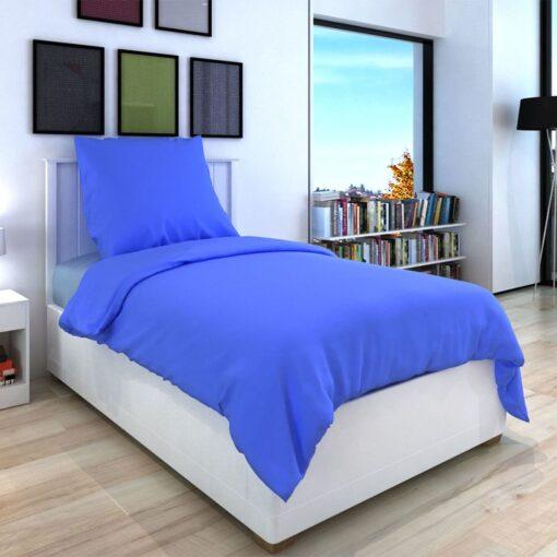 vidaXL sengesæt 155×200/80×80 cm bomuld blå