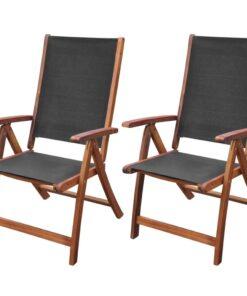 vidaXL foldbare havestole 2 stk. massivt akacietræ og textilene