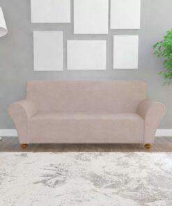 vidaXL sofaovertræk, stræk, beige, polyesterjersey