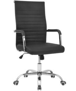 vidaXL kontorstol kunstigt læder 55 x 63 cm sort