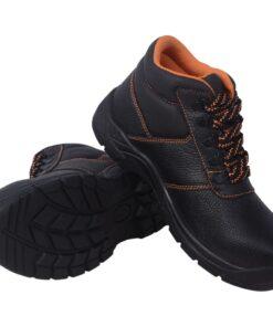 vidaXL sikkerhedssko, sorte, størrelse 44, læder