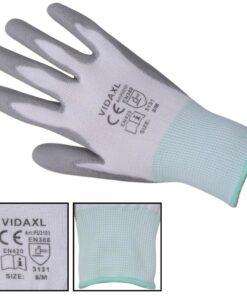 VidaXL Arbejdshandsker Nitril 24 Par Hvid og Grå Størrelse 8/M
