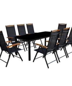 vidaXL udendørs spisebordssæt 9 dele med foldbare stole aluminium sort