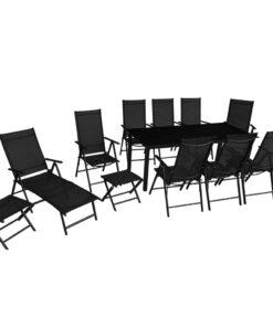 vidaXL udendørs spisebordssæt 12 dele aluminium sort