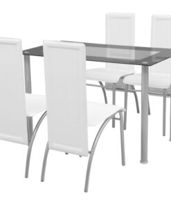 vidaXL spisebordssæt i 5 dele hvid