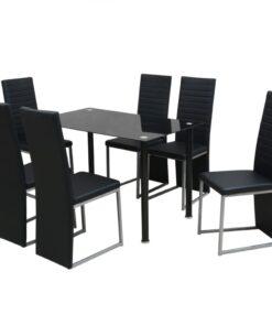 vidaXL spisebordssæt i 7 dele sort