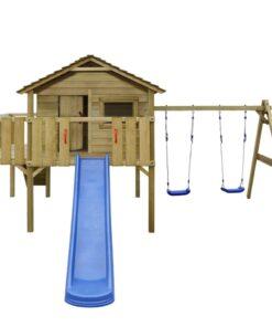 vidaXL legehus med stige, rutsjebane og gynger 480 x 440 x 294 cm træ