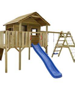 vidaXL legehus med klatrenet, rutsjebane, gynger 60 x 440 x 294 cm træ