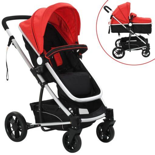 vidaXL 2-i-1 klapvogn/barnevogn aluminium rød og sort