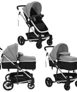 vidaXL 2-i-1 klapvogn/barnevogn aluminium grå og sort